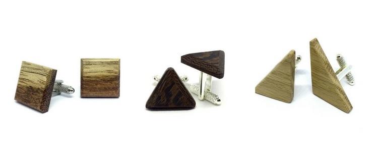 Spinki do mankietów z drewna, pomysł na prezent dla niego