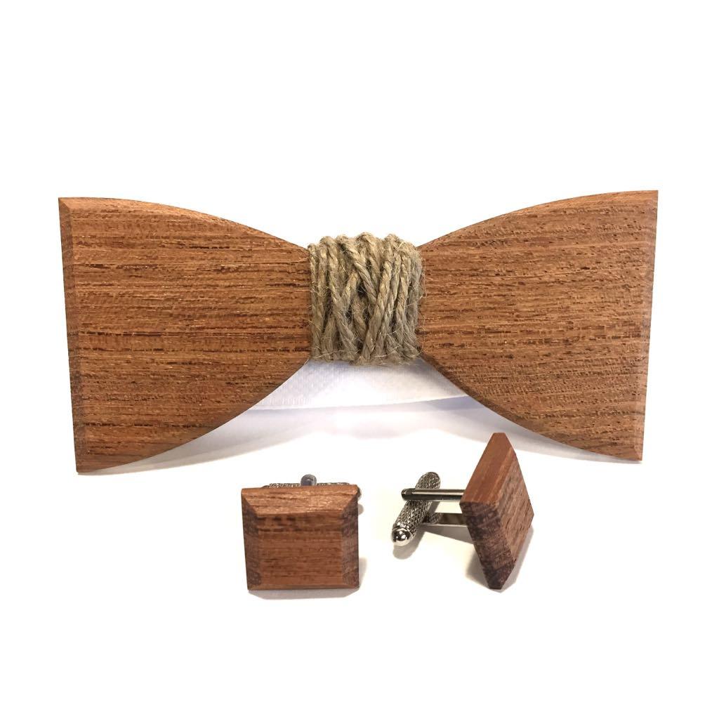 Muszka z drewna i spinki do mankietów